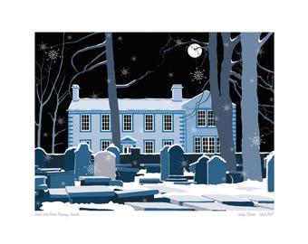 Bronte Parsonage, Haworth, Yorkshire, Bronte sisters, Winters night, print, wuthering heights