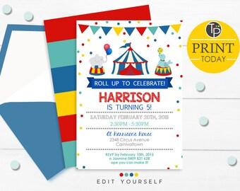 CIRCUS INVITATION, Instant Download CIRCUS invitation, Circus themed party, Circus invitation instant download, Circus Birthday Invitation