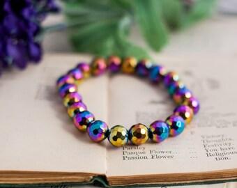 Rainbow Hematite Bracelet - Gemstone Stretch Bracelet - Rainbow Hematite Strech Bracelet - Gemstone Bracelet