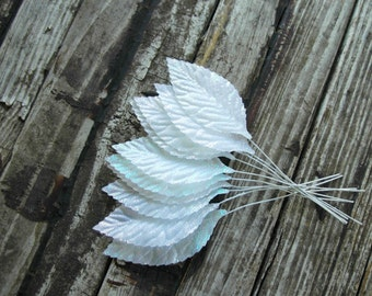 10 . White Iridescent Leaves . wired leaves . floral picks . millinery leaves . Winter Wedding DIY supplies . leaf embellishments