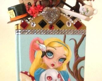 Alice In Wonderland Book Art!!  Charming OOAK Artwork by Lori Gutierrez!!