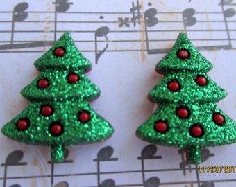 Christmas tree earrings-Christmas earrings-Holiday earrings-kids clip on earrings-Christmas party favors-Christmas tree jewelry-Kids party