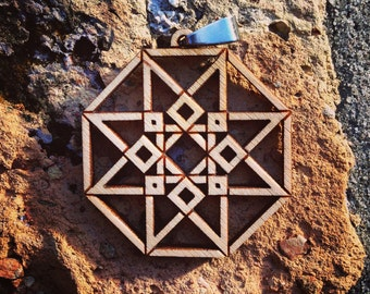 Laser Etched Sacred Geometry Pendant