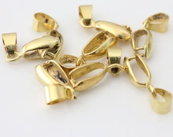 25pcs Gold Pinch Bails - 14mm, 16mm, 24mm Pinch Bails - Small Bails - Gold Plated - Pendant Bails - Ice Pick Bail - Gold Bail - Gold Bail