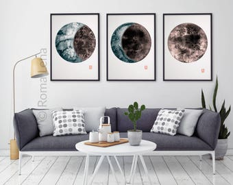 Moon painting | Etsy
