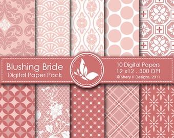 Blushing Bride Paper Pack - 10 Digital papers - 12 x12 - 300 DPI