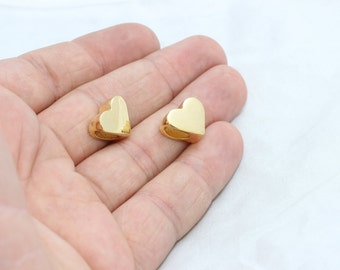 Gold Plated Heart Beads, Large Hole Hearts, 12x15mm , Heart Beads, Heart Pendant, Heart Charms , brclt, MTE