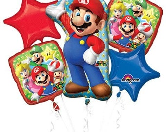 5 Piece Super Mario Bros Foil Mylar Balloon Bouquet