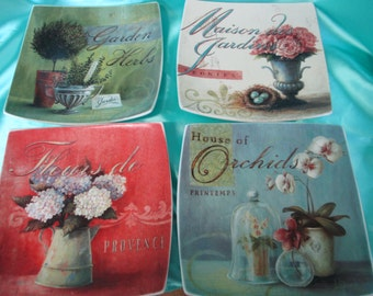 Vintage 4 decorative square plates used Cypress Home