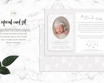 Photography Referral Card Template - 5x7 card with Wallet Coupons - Photoshop Template - Photographer marketing - Branding - SKU RC005