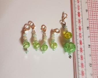 5 glass crochet/ knitting stitch markers, charms