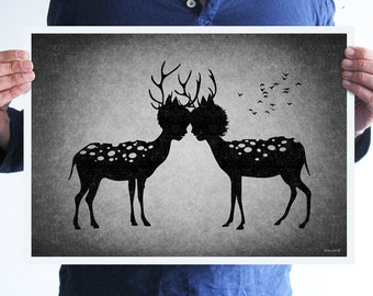 Deer love,digital print,artwork,art,wall decor,home decor,silhouette,black and white,gothic art,goth,victorian,horror,poster,print,skulls