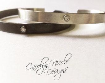 Diamond und 925er Silber Manschette Armband