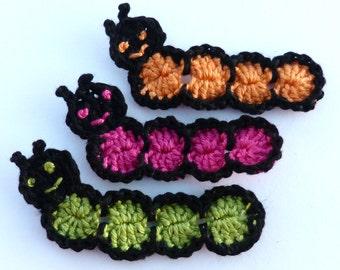 Crochet applique, 3 small applique caterpillars, cardmaking, scrapbooking, appliques, handmade, sew on patches. embellishments