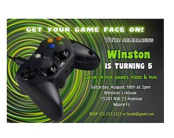 Xbox game Boys birthday party invitation - Printable or Printed