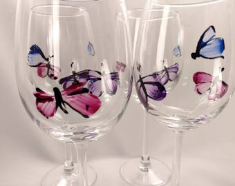 Hand Painted Wine Glasses. Set of 4. Purple Butterflies.