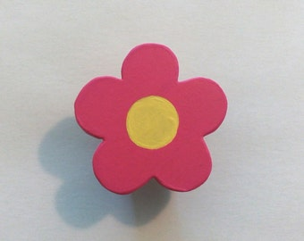 Bright Pink Daisy Children's Wood Drawer Knob