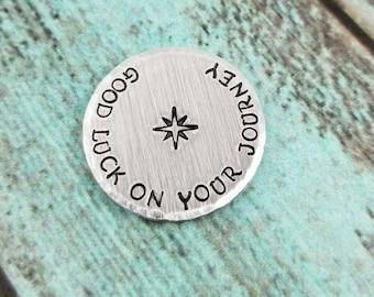 Good Luck Gift, Retirement Gift, Retirement Pocket Token, Retirement Coin, Hand Stamped Pocket Coin, Stamped Pocket Token
