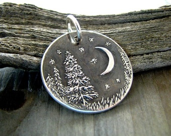 Evening Pines No. 2, Personalized Fine Silver Pendant, Handmade in Recycled Silver From Artisan Original Carving, by SilverWishes