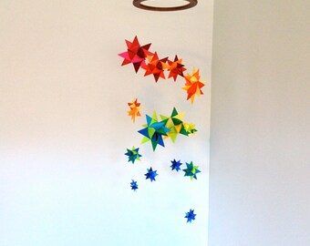 Colorful Mobile Hanging Origami Stars -'Lyra' Rainbow