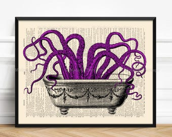 Octopus Poster, Octopus In Bathtub, Tentacles Print Gift, Xmas Poster Gift, Bathroom Art Poster Coworker Gift Print Wedding Favor Poster 520