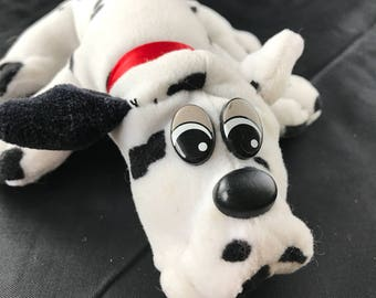 """1985 Tonka Pound Puppy Newborns Dalmatian. Black and white puppy with red collar. 7.5"""" long"""