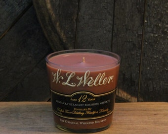 Upcycled W. L. Weller Whiskey Candle - Recycled Bourbon Bottle Candle Handmade Soy Candle 750ml / Weller 12 Year / Fathers Day Gifts for Him