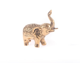 Elephant Statue - Lucky Elephant - Feng Shui Gift - Good Luck Decor - Protective Statue - Housewarming Gift - Small Gold Elephant