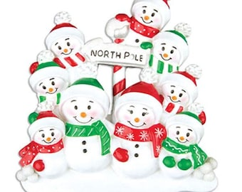 North Pole Family of 9 Personalized Christmas Ornament - Personalized Names