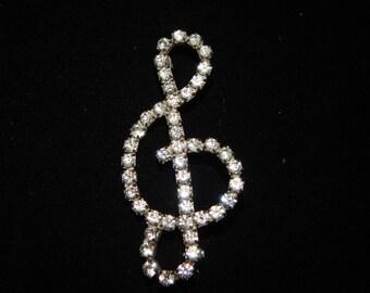 Vintage Treble Clef Brooch Silver Tone Clear Rhinestone Musical Music Note Rhinestone Treble Clef Brooch