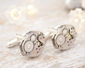 Modern Cufflinks with Steampunk watch movements and Sterling Silver Luxurious Xmas Gifts for Men Silver Cuff Links
