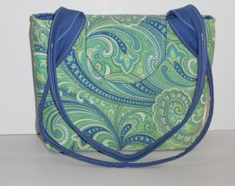 Purse Shoulder Bag Medium-Sized Flap Floral Paisley Green and Blue Double Straps Pockets Zipper Magnetic Snap Ready to Ship