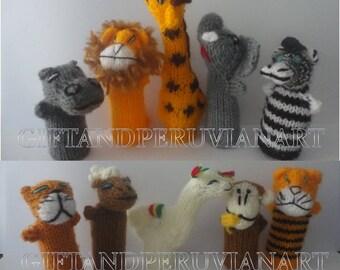 10 Peruvian Finger Puppet Wool - Will Animals Finger Puppets - Collectable Handmade New Peru