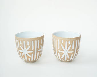 """set of 2 hand-carved ceramic cups / tumblers / mugs / raw clay with bright white glaze / star pattern // """"GROOVE"""""""