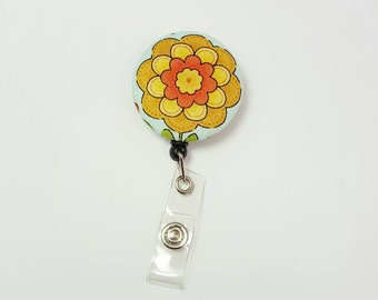 Retactable ID Badge Reel / ID Badge Holder / Name Badge Clip / Badge Pull / Button Badge Holder - Yellow Orange Flower