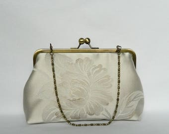 Ivory and Gold Floral Clutch, Clutch Bag, Wedding Clutch, Bridal Clutch, Floral Clutch, Evening Clutch, UK