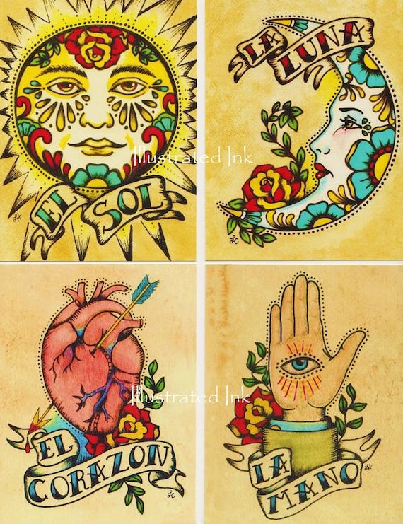 Folk Art POSTCARDS Mexican Loteria Tattoo Set Of 8