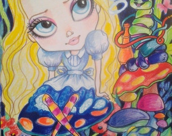 Alice and the Caterpillar ACEO/ATC Artist Trading Cards By the Artist Leslie Mehl