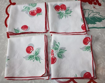 Sweet Vintage Cherry Cotton Napkins, 4-Piece Set