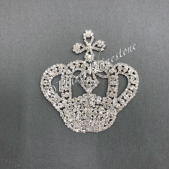 Silver Medium Rhinestone Crown Applique #AS-04