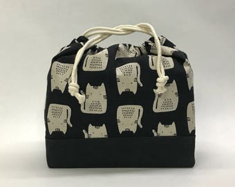 Cats on Black Large Drawstring Knitting Project Craft Bag - READY TO SHIP