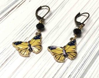Enameled Butterfly Drop Earrings. Yellow. Black. Dangle Earrings. Lever Back. Handmade Jewelry.