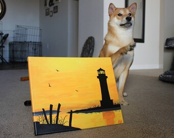 Sunset Lighthouse Painting, Lighthouse Decor, Beach Painting Canvas, Beach Sunset Wall Art, Beach Decor, Beach Painting Canvas, Home Decor