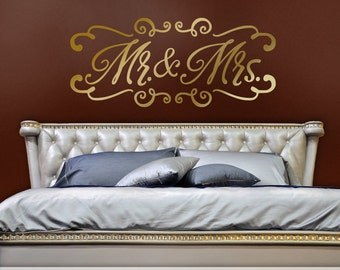 Mr and Mrs Wall Decor Wedding or Bedroom Headboard Wall Decal, Mr and Mrs Wall Decal, Wedding Gift for Couple, Gold Wall Decal (0179c32v)
