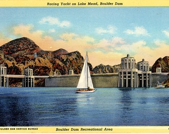 Lake Mead Boulder Dam Recreational Area Arizona Nevada Vintage Postcard (unused)