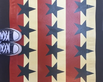 Stars & Stripes Floor Cloth, Eclectic Home Decor, Americana Decor, Painted Canvas Rug