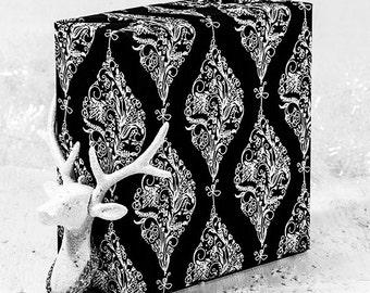 Black And White Christmas Elegant Gift Wrap Roll |  Black And White Ornaments Xmas Gift Wrap In Two Sizes.