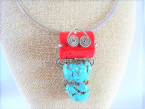 Native American Sterling Silver Necklace, Turquoise Coral Pendant, Signed 925, Large Chunky Stones, Sterling Collar, Statement Necklace