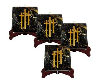 Golgotha crosses - Christian gifts - Christian coasters - set of four tile coasters - Christian art  handmade ceramic tiles - Cross Coasters