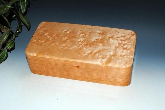 Wooden Box With a Tray-Wood Jewelry Box -Birdseye Maple on Cherry-Wooden Jewelry Box, Stash Box, Wood Keepsake Box, Treasure Box, Wood Boxes